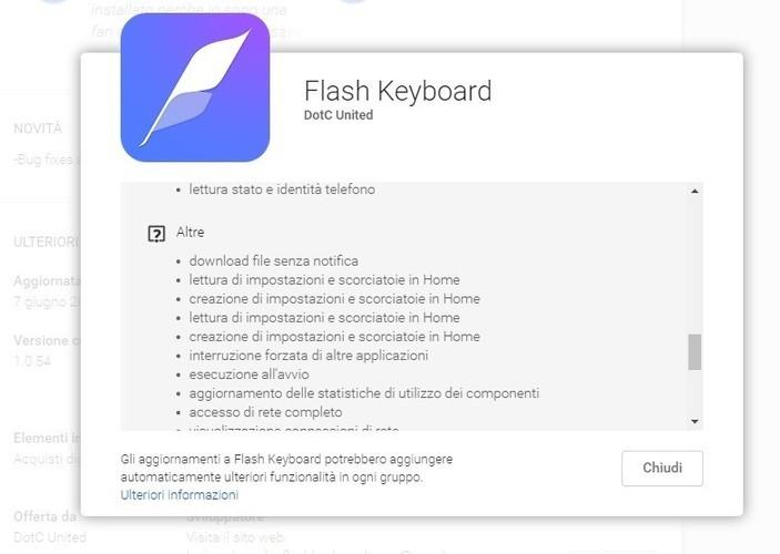 Autorizzazioni richieste da Flash Keyboard