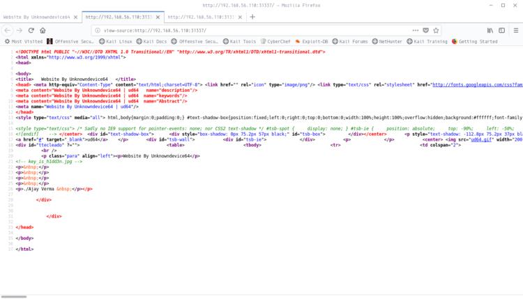 Codice sorgente della pagina